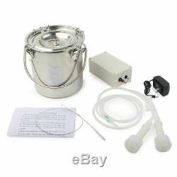 5L Electric Milking Machine Vacuum Pump Cow Milker Double Heads Adjustable Steel