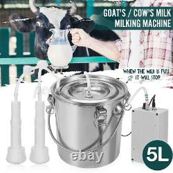 5L Stainless Steel Electric Milking Machine Cow Cattle Milker Device US 110V