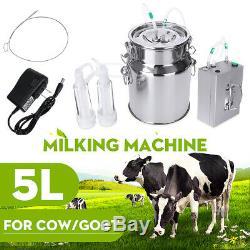 5L Vacuum Pulsating Elektrisch Melkmaschine Milker Melkeimer für Kühe Ziegen