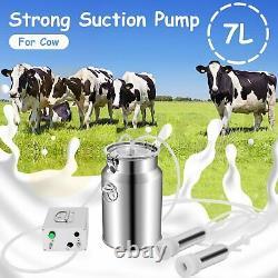 7L 110V Cow Milking Machine Vacuum Pump Electric Upgraded Dual Heads Milker