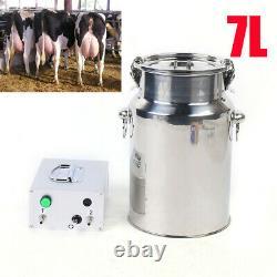 7L Electric Cow Milking Machine Kit Vacuum Impulse Pump Farm Dairy Cattle Milker