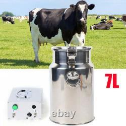 7L Electric Milking Machine Portable Vacuum Pump Farm Cow Dairy Cattle Milker US