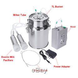 7L Electric Milking Machine Vacuum Impulse Pump Stainless Steel Cow Goat Milker
