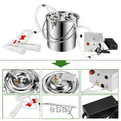 7L Portable Electric Milking Machine Vacuum Pump Milker For Farm Cow Sheep Goat