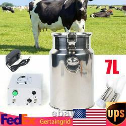 7L Portable Vacuum Impulse Pump Electric Milking Machine For Cow Goat Milker US