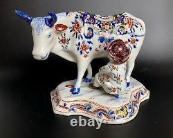 Antique Dutch Delft Cow with Milker Figurine Polychrome 1700-1722 APK mark