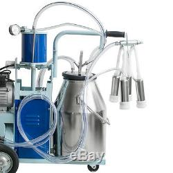 Auto Electric Milking Machine Farm Dairy Cow Milker 25L Barrel Vacuum Piston Big