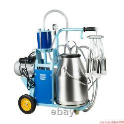 Automatic Electric Milking Machine Farm Cows Goat 25L Bucket Vacuum Pump Dairy