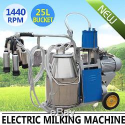 Automatic Electric Milking Machine Vacuum Piston Pump+25L Farm 10-12Cows/hour CE