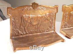 Bookends of a Cow Dairy Farm Advertising Perfection Milker Co. Brass or Bronze