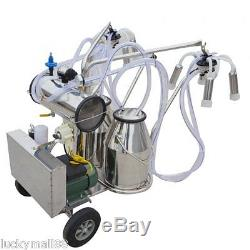 CE Portable Double Tank Milker Electric Vacuum Pump Milking Machine For Cow Farm