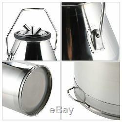 CO-Z 25L Portable Dairy Cow Milking Machine Milker Bucket Tank Barrel Stainle