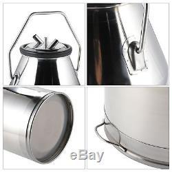 CO-Z 25L Portable Dairy Cow Milking Machine Milker Bucket Tank Barrel Stainless