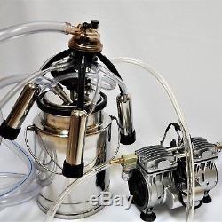 Complete Cow Bucket Milker+. 5 HP Twin Piston Vacuum Pump 10L SS Bucket Pulsator+