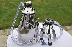 Complete Cow Bucket Milker Portable StationVacuum Pump Pulsator Jug Claw Shells