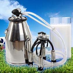 Cow Milker Machine with Stainless Steel Bucket Tank Barrel+ L80 Pneumatic Pulsator