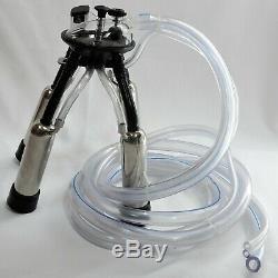 Cow Milker SS Mobile Base OILLESS Vacuum Pump 10 Liter SS Bucket Claw Regulator