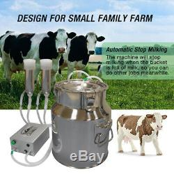 Cow Milking Machine, HANTOP Automatic Pulsating Vacuum Pump Milker 14L Bucket