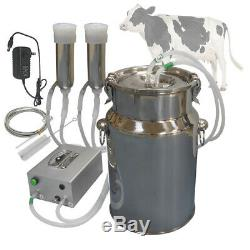 Cow Milking Machine, HANTOP Automatic Pulsating Vacuum Pump Milker 7L Bucket