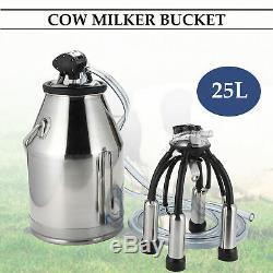 Dairy Cow Milker Milking Machine Bucket Tank Barrel Stainless Steel 25L Newest