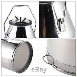 Dairy Cow Milker, Portable Milking Machine Bucket Tank Barrel, Stainless Steel