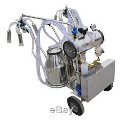 Double Tank Barrel Milker Electric Milking Machine Vacuum Pump Cow Cattle Farm