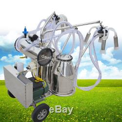 Double Tank Electric Milking Machine Milker Vacuum Pump For Farm Cow Milk 750W