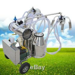 Double Tank Milker Electric Milking Machine Vacuum Pump For Cows Farm Device USA