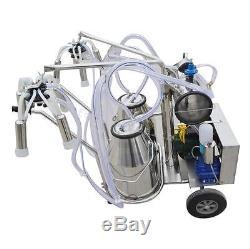 Double Tank Milker wheels Electric Vacuum Pump Milking Machine Farm Cow sheep