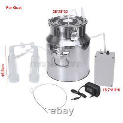 Dual Head 14L Electric Barrel Milking Machine Cow Goat Sheep Milker Vacuum Pump