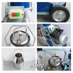 Electric Milker Machine For farm Cows With Bucket Piston Vacuum Pump 25 day SHIP