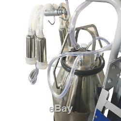 Electric Milker Milking Machine Piston Vaccum Pump single Barrel Bucket 25L cows