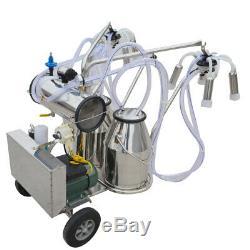 Electric Milking Machine Double Tank Bucket Milker Cow Farm Vacuum Pump 110V