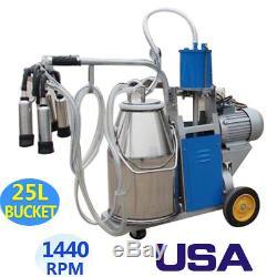 Electric Milking Machine Farm Cows +25L Bucket Vacuum Piston Pump Automatic USA