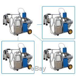 Electric Milking Machine For Cows 25L Bucket wheels Piston Vacuum PumpAjustable