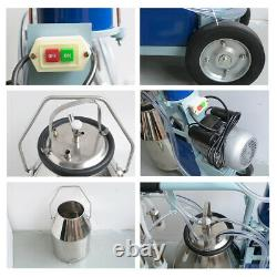 Electric Milking Machine For cows Bucket Stainless Steel +Auto Vacuum Pump NEW