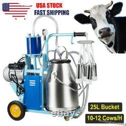 Electric Milking Machine Milker Farm Cows 25L Bucket Stainless Steel 12Cows/h