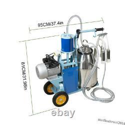 Electric Milking Machine Milker Farm Cows Goat 25L Bucket Stainless Steel 550W