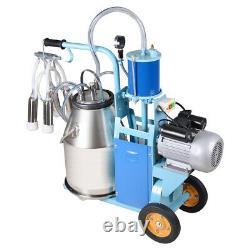 Electric Milking Machine Milker Farm Goat Cows 25L Bucket Vacuum Pump 550W Steel