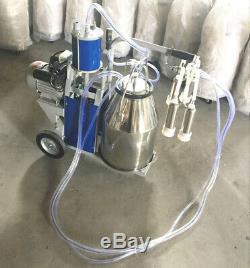 Electric Milking Machine Vacuum Piston Pump Milker Bucket Farm Cow Goat Dairy