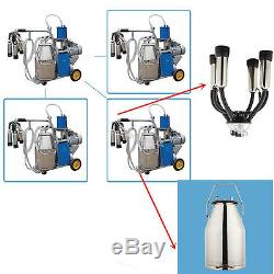 Electric Milking Machine for Farm Cows Bucket Piston Vacuum Pump Milk Dairy USA