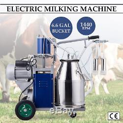 Electric Single Cow Milking Machine Milker Pulsator with 25L Bucket New