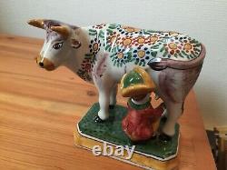 FREE SHIPMENT Unique MAKKUM COW milker figurine Tichelaar Delft Holland 33