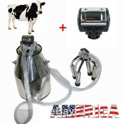 Farm 25L Cow Milker Bucket Tank Milking Machine+Pneumatic Pulsator Cow Farmer