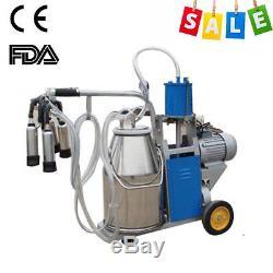 Farm Electric Milking Machine Milker Vacuum For Farm Cows 25L Metal Bucket UPS