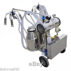Fast Electric Milking Machine farm Cows Double Tank 2 Bucket Milker Vacuum Pump