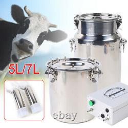NEW 5L/7L Electric Milking Machine Vacuum Impulse Pump Cow Goat Sheep Milker USA