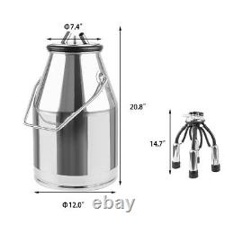 NEW Barrel Portable Cow Milking Machine Miker 304 Stainless Steel Tank Bucket