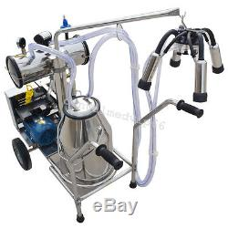 NEW Single Tank Milker Electric Vacuum Pump Milking Machine +Wheels For Cows FDA
