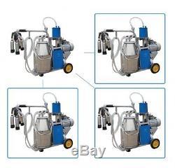 New 25L Milker Electric Milking Machine farm Cows Bucket Stainless Steel 64/min